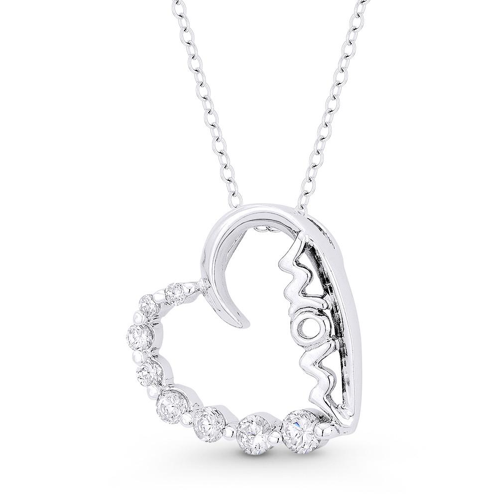 .925 Sterling Silver CZ Heart Journey Charm Pendant