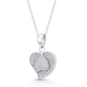 Double-Heart CZ Crystal Pave Pendant in .925 Sterling Silver w/ Rhodium - ST-FP097-DiaCZ-SLW