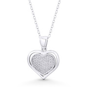 Double-Heart CZ Crystal Pave Pendant in .925 Sterling Silver w/ Rhodium - ST-FP098-DiaCZ-SLW