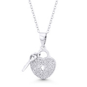 Heart Lock-&-Key CZ Crystal Love Charm Pendant in .925 Sterling Silver w/ Rhodium - ST-FP099-DiaCZ-SLW