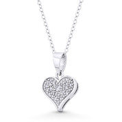 Heart Charm CZ Crystal Pave 19x13mm Pendant in .925 Sterling Silver w/ Rhodium - ST-FP133-DiaCZ-SLW