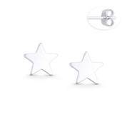 9mm Flat Star Celestial Charm Stud Earrings w/ Push-Back Posts in .925 Sterling Silver - ST-SE113-SL