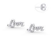 """Love"" Script CZ Crystal Stud Earrings in .925 Sterling Silver w/ Rhodium - ST-SE114-DiaCZ-SL"