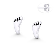 Baby's Footprint Charm 8x5mm Stud Earrings w/ Push-Back Posts in Oxidized .925 Sterling Silver - ST-SE115-SL
