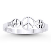 Triple Peace Sign Charm Stackable Right-Hand Ring in Oxidized .925 Sterling Silver - ST-FR025-SLO