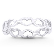 3.5mm Heart Charm Stackable Eternity Band in .925 Sterling Silver - ST-FR028-SLP