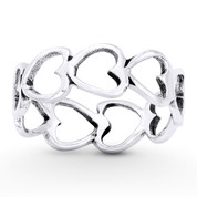 Multi-Heart Charm Stackable 6.5mm Eternity Band in Oxidized .925 Sterling Silver - ST-FR036-SLO