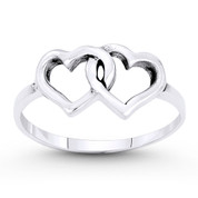 8x13mm Double Heart Charm Stackable Love Promise Ring in Oxidized .925 Sterling Silver - ST-FR038-SLO