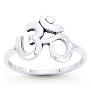 Om Symbol Hindu / Buddhist Charm Right-Hand Ring in Oxidized .925 Sterling Silver - ST-FR039-SLO