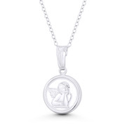Cherub Winged Baby Guardian Angel 23x13mm Button Pendant in .925 Sterling Silver - ST-CP047-13MM-SLP