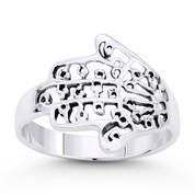 Hamsa Hand Evil Eye Luck Charm Ring in Oxidized .925 Sterling Silver - EYESRG-001-SLO