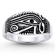 Eye of Horus Egyptian Luck Charm Ring in Oxidized .925 Sterling Silver - EYESRG-002-SLO