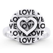 Heart Charm, Love Script, 13.5mm Round Disc Stackable Ring in Oxidized .925 Sterling Silver - ST-FR041-SLO