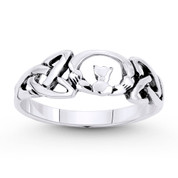 Irish Claddagh Heart & Triquetra Celtic Knot Charm Ring in Oxidized .925 Sterling Silver - ST-FR043-SLO