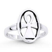 Egyptian Ankh Cross Key-of-Life Oval Charm Ring in Oxidized .925 Sterling Silver - ST-FR044-SLO