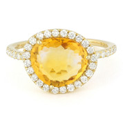 3.08ct Fancy Cut Citrine & Round Diamond Halo Right-Hand Ring in 14k Yellow Gold
