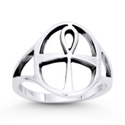 Egyptian Ankh Cross Key-of-Life Charm Splitshank Ring in Oxidized .925 Sterling Silver - ST-FR045-SLO