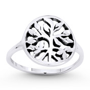 Tree w/ Filigree Vine & Leaf Circle Charm Ring in Oxidized .925 Sterling Silver - ST-FR046-SLO