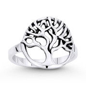 Tree-of-Life / Knowledge Etz Chaim Charm Ring in Oxidized .925 Sterling Silver - ST-FR047-SLO