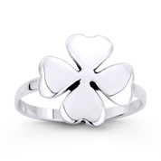Irish Shamrock 4-Leaf Heart Clover Irish / Celtic Luck Charm Ring in .925 Sterling Silver - ST-FR048-SLO