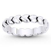 Multi-Heart Charm Stackable 6.5mm Eternity Band in Oxidized .925 Sterling Silver - ST-FR051-SLO