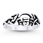 Irish Claddagh Heart & Triquetra Celtic Knot Charm Ring in Oxidized .925 Sterling Silver - ST-FR052-SLO