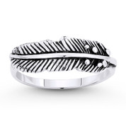 Rustic-Finish Eagle's Feather Charm Stackable Ring in Oxidized .925 Sterling Silver - ST-FR053-SLO