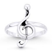 G-Clef Musical Symbol Charm Stackable Right-Hand Ring in Oxidized .925 Sterling Silver - ST-FR054-SLO