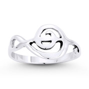 G-Clef Musical Symbol Charm Stackable Right-Hand Ring in Oxidized .925 Sterling Silver - ST-FR055-SLO