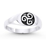 Celtic Triskelion / Triskele Triple Spiral Charm Ring in Oxidized .925 Sterling Silver - ST-FR057-SLO