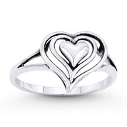 11x12mm Triple-Heart Charm Stackable Love Promise Ring in Oxidized .925 Sterling Silver - ST-FR059-SLO