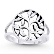 Tree w/ Filigree Vine & Leaf Circle Charm Ring in Oxidized .925 Sterling Silver - ST-FR060-SLO