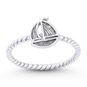 Sailing Yacht / Sailboat Nautical Charm Stackable Ring in Oxidized .925 Sterling Silver - ST-FR061-SLO
