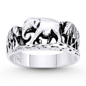 Forest Elephant Animal Totem Charm Ring in Oxidized .925 Sterling Silver - ST-FR064-SLO