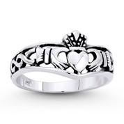 Irish Claddagh & Celtic Knot Curved Band in Oxidized .925 Sterling Silver - ST-FR065-SLO