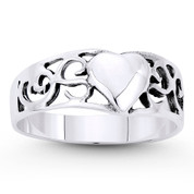6.5mmx7mm Heart Charm & Filigree Curved Band in Oxidized .925 Sterling Silver - ST-FR066-SLO