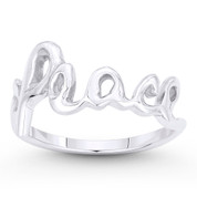 """Peace"" Word Cursive Script Right-Hand Stackable Ring in .925 Sterling Silver - ST-FR068-SLP"