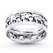 Elephant Herd Animal Charm Right-Hand Eternity Band in Oxidized .925 Sterling Silver - ST-FR069-SLO