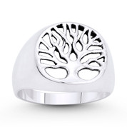 Tree-of-Life / Knowledge Etz Chaim Charm Ring in Oxidized .925 Sterling Silver - ST-FR071-SLO