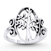 Tree-of-Life / Knowledge Etz Chaim Charm Ring in Oxidized .925 Sterling Silver - ST-FR072-SLO