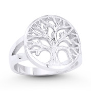Tree-of-Life / Knowledge Etz Chaim Charm Splitshank Ring in .925 Sterling Silver - ST-FR077-SLP