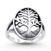 Tree-of-Life / Knowledge Etz Chaim Charm Splitshank Ring in Oxidized .925 Sterling Silver - ST-FR080-SLO