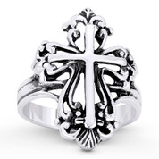 St. Thomas & Latin Cross Religious Charm Wide Ring in Oxidized .925 Sterling Silver - ST-FR081-SLO
