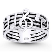 G-Clef, Musical Notes, & Staves Stackable Band in Oxidized .925 Sterling Silver - ST-FR084-SLO