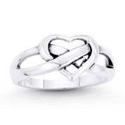 9x11mm Heart & Infinity Knot Charm Love Promise Ring in Solid .925 Sterling Silver - ST-FR087-SLO