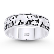 Elephant Herd Animal Charm Right-Hand Eternity Band in Oxidized .925 Sterling Silver - ST-FR088-SLO