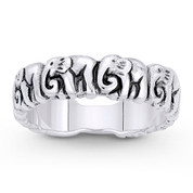 Elephant Herd Animal Charm Right-Hand Stackable Band in Oxidized .925 Sterling Silver - ST-FR089-SLO