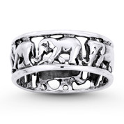 Elephant Herd Animal Charm Right-Hand Eternity Band in Oxidized .925 Sterling Silver - ST-FR090-SLO