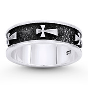 Medieval Pattée / Formée Cross 6mm Band in Oxidized .925 Sterling Silver - ST-FR093-SLO