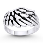 Rustic-Finish Angel's Wing Charm Wide Ring in Oxidized .925 Sterling Silver - ST-FR094-SLO